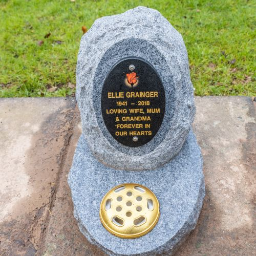 New granite marker stone (Ailsa Craig boulder)